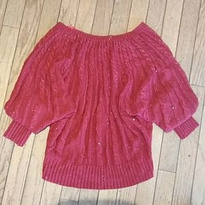 a.n.a Sweaters - Ana red shimmery knitted sweater with web sleeves